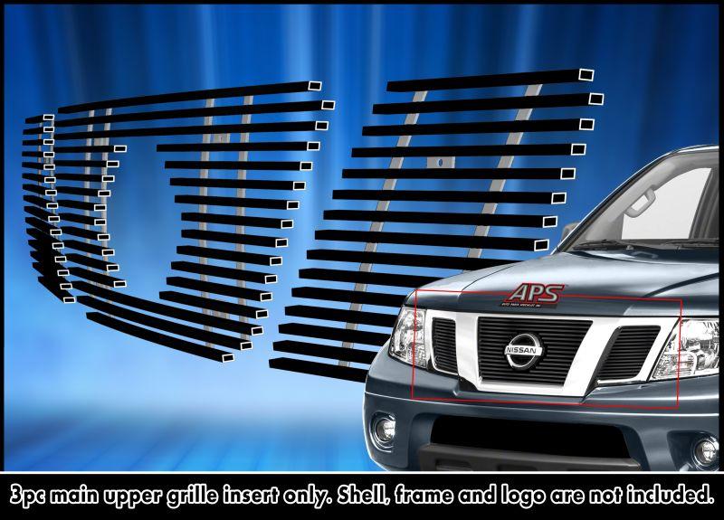 APS Fits 2009-2018 Nissan Frontier Main Upper Aluminum Black Horizontal Billet Grille Insert #N66641H